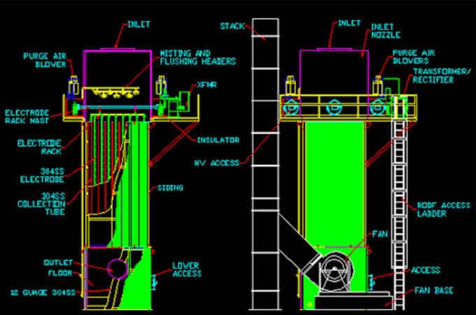 wet esp electrostatic precipitator construction
